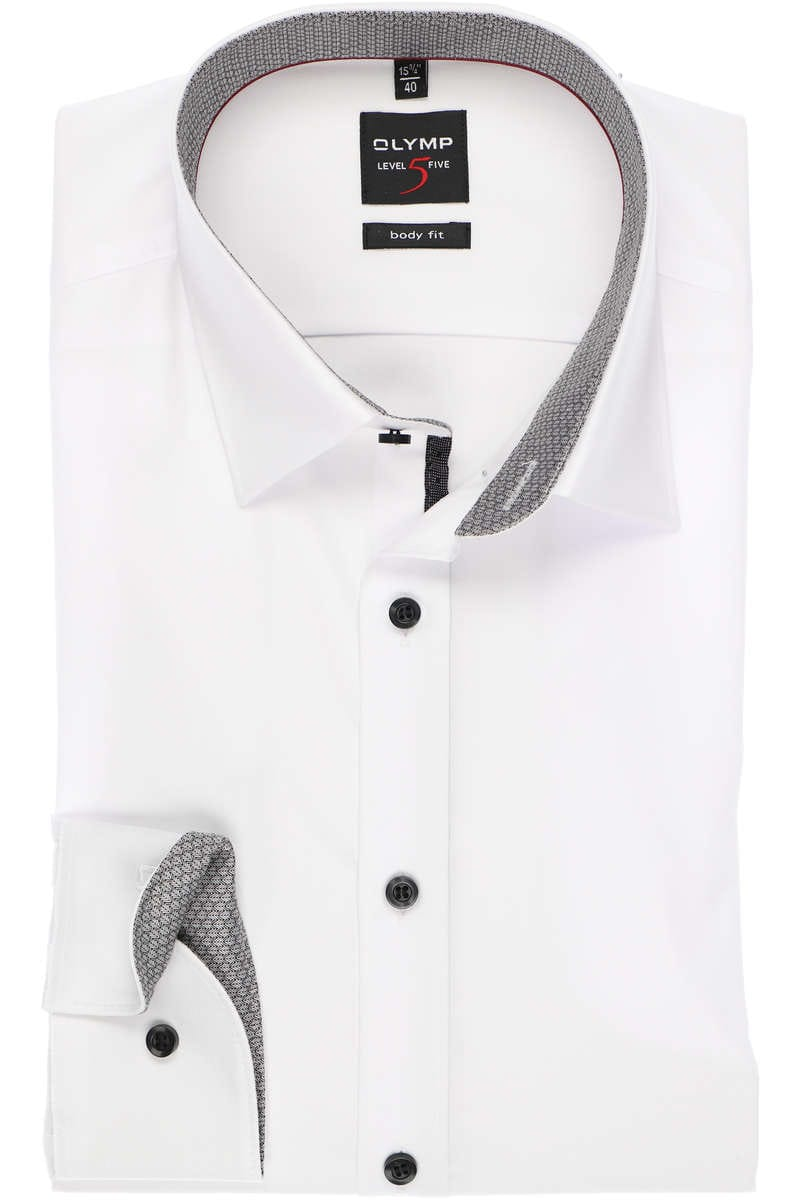 Olymp Level Five Body Fit Hemd weiss, Einfarbig 41 - L