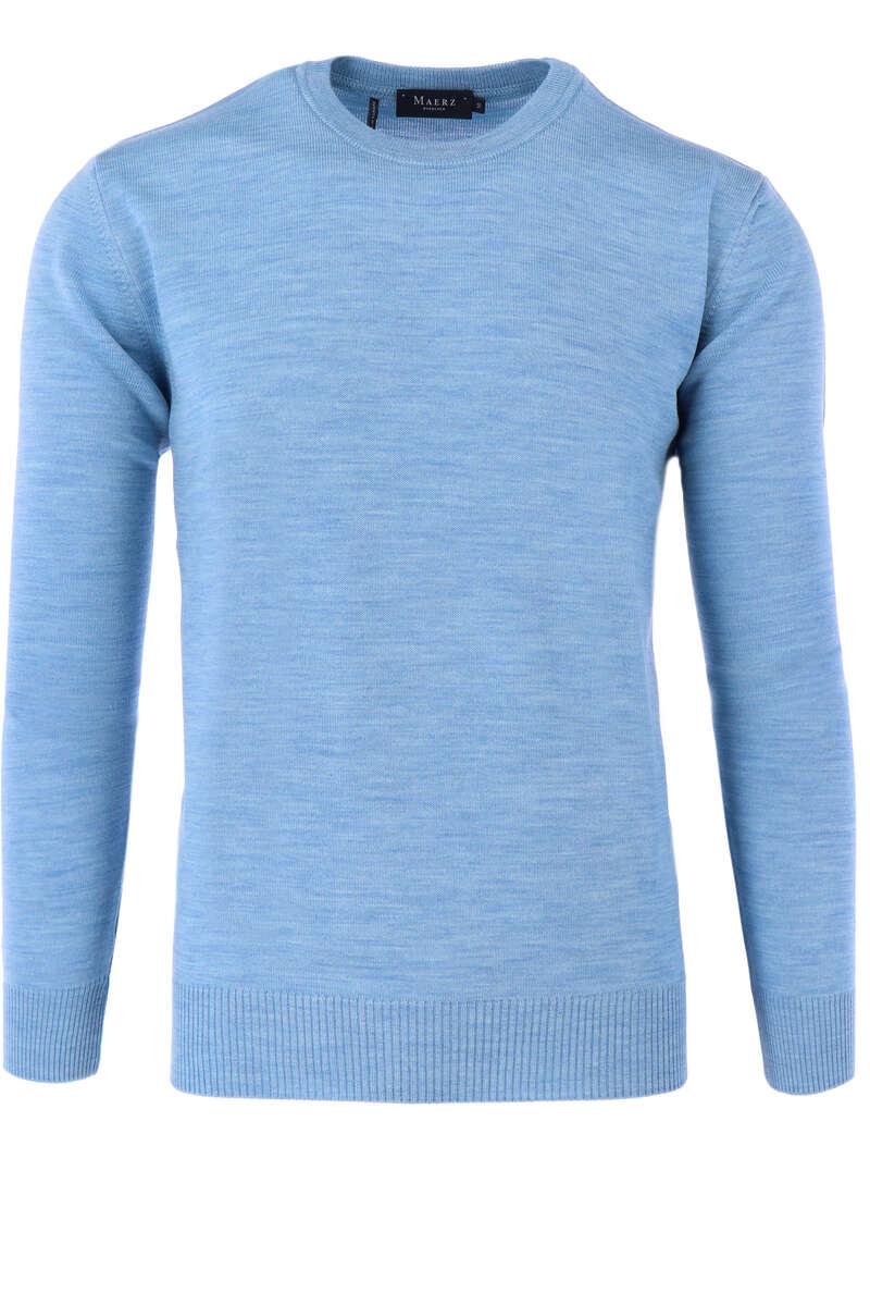Maerz Casual Classic Fit Pullover Rundhals hellblau, einfarbig 48