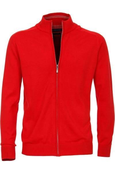 Casa Moda Cardigan Zipper rot, einfarbig