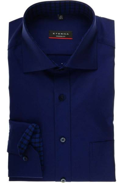 ETERNA Modern Fit Hemd blau/violett, Einfarbig