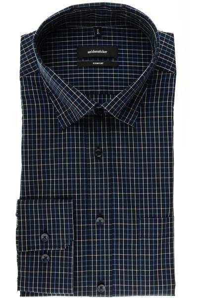 Seidensticker Hemd - Comfort Fit - dunkelblau/blau/weiss, Gitterkaro
