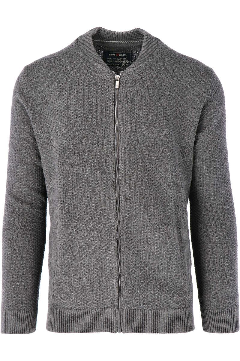 Marvelis Casual Modern Fit Cardigan Zip grau, einfarbig M