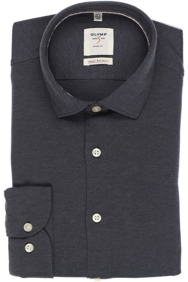 OLYMP Level Five smart business Body Fit Hemd schwarz, Einfarbig