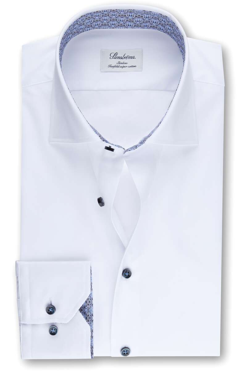 Stenströms Slimline Hemd weiss, Einfarbig 39 - M