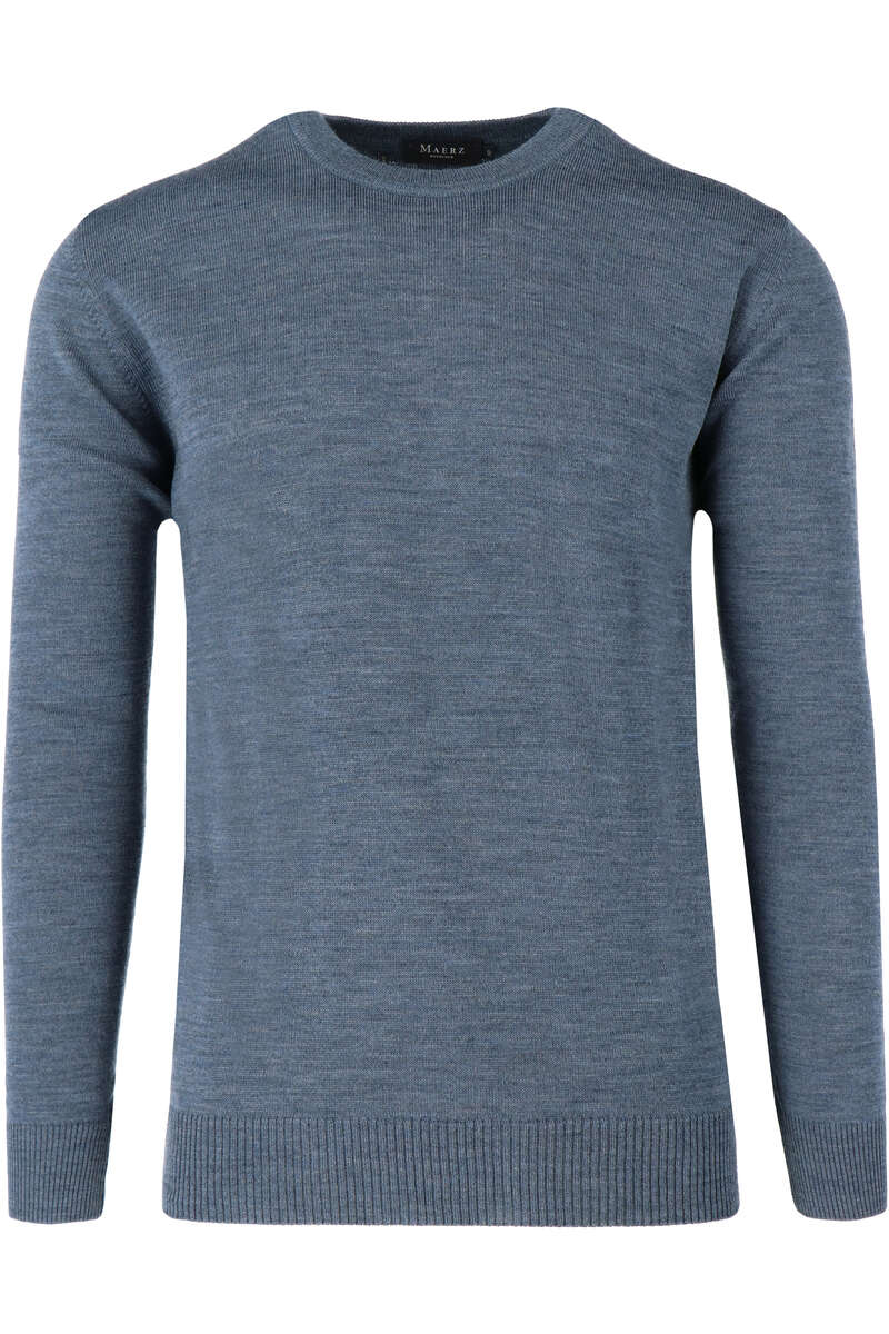 Maerz Classic Fit Pullover Rundhals blau, einfarbig 50