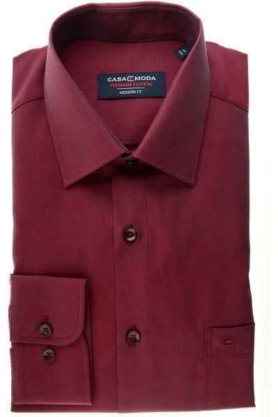 Casa Moda Hemd - Modern Fit - bordeaux, Einfarbig