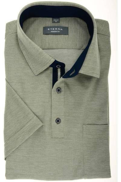 ETERNA Modern Fit Hemd oliv/grau, Einfarbig