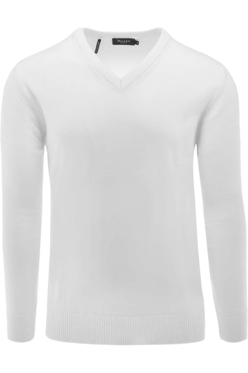 MAERZ Classic Fit Pullover V-Ausschnitt weiss, einfarbig 48