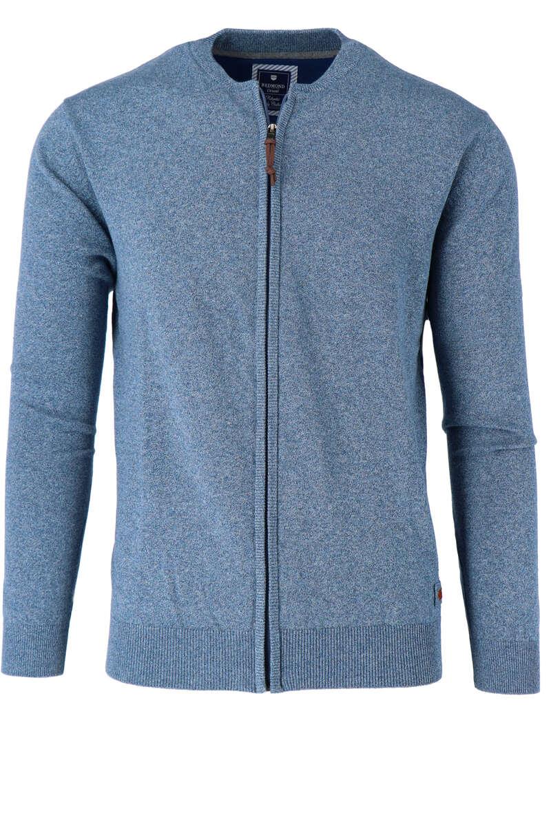 Redmond Cardigan Zip blau, einfarbig S