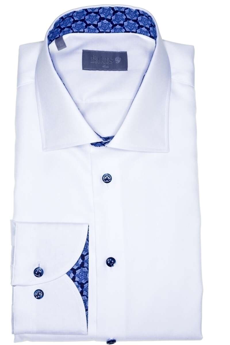 fakts Slim Fit Hemd weiss, Einfarbig 42 - L