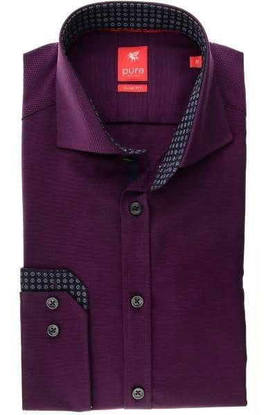 Pure Hemd - Slim Fit - violett, Einfarbig