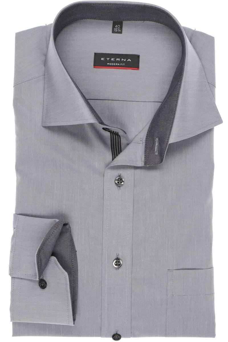 Eterna Hemd - Modern Fit - grau, Einfarbig