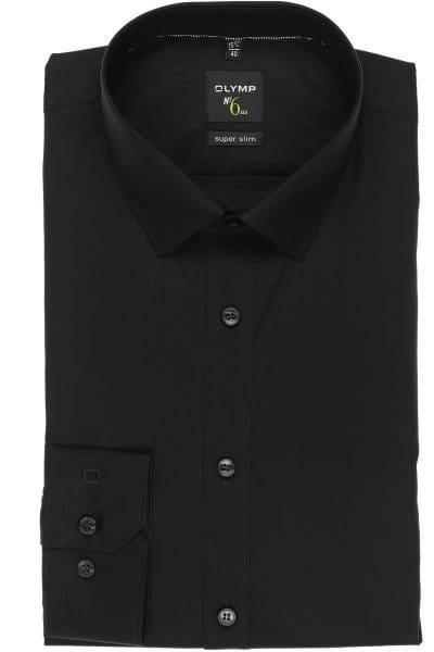 Olymp Hemd - Super Slim No. Six - schwarz, Einfarbig