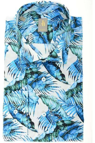 Jacques Britt Slim Fit Hemd grün/blau/weiss, Blumen