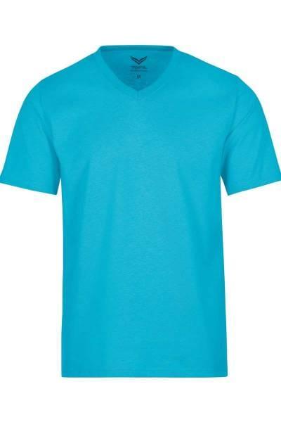 TRIGEMA T-Shirt V-Ausschnitt türkis, einfarbig