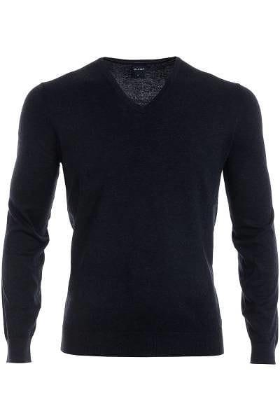 Olymp Strick - V-Ausschnitt Pullover - Seide/Kaschmir - graphit