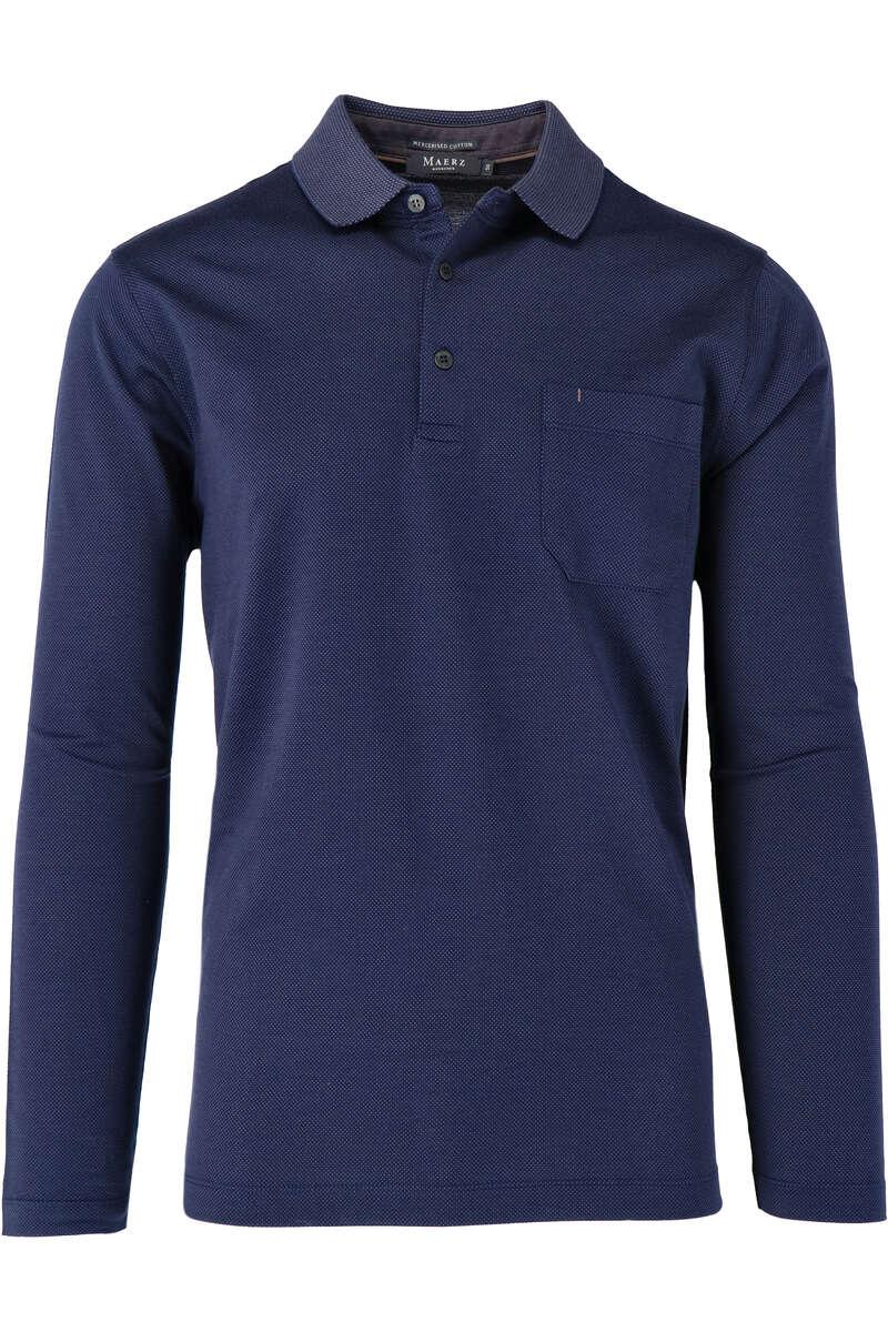 Maerz Modern Fit Sweatshirt Polokragen blau/braun, gemustert 50