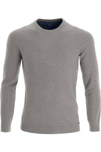 OLYMP Modern Fit Strickpullover Rundhals grau, einfarbig