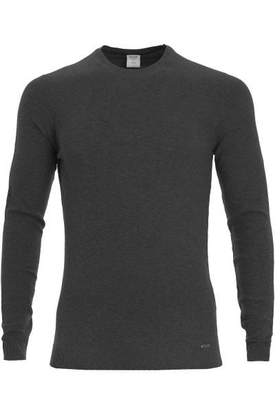 OLYMP Level Five Strickpullover Rundhals anthrazit, einfarbig