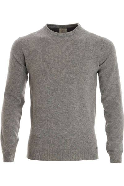 OLYMP Level Five Body Fit Strickpullover Rundhals grau, einfarbig