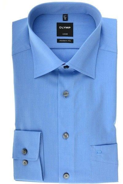 Olymp Hemd - Modern Fit - blau, Einfarbig