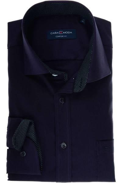Casa Moda Comfort Fit Hemd violett/schwarz, Strukturiert