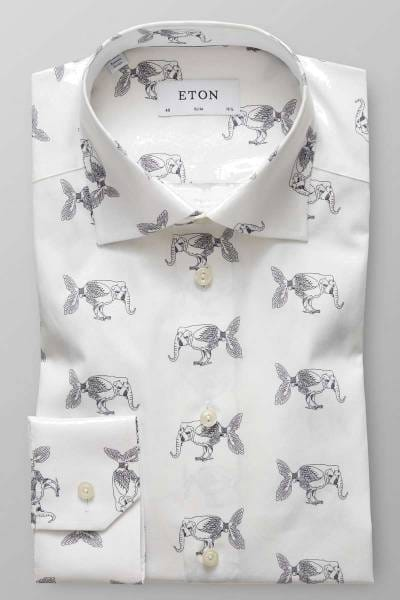 ETON Slim fit Hemd beige, Gemustert