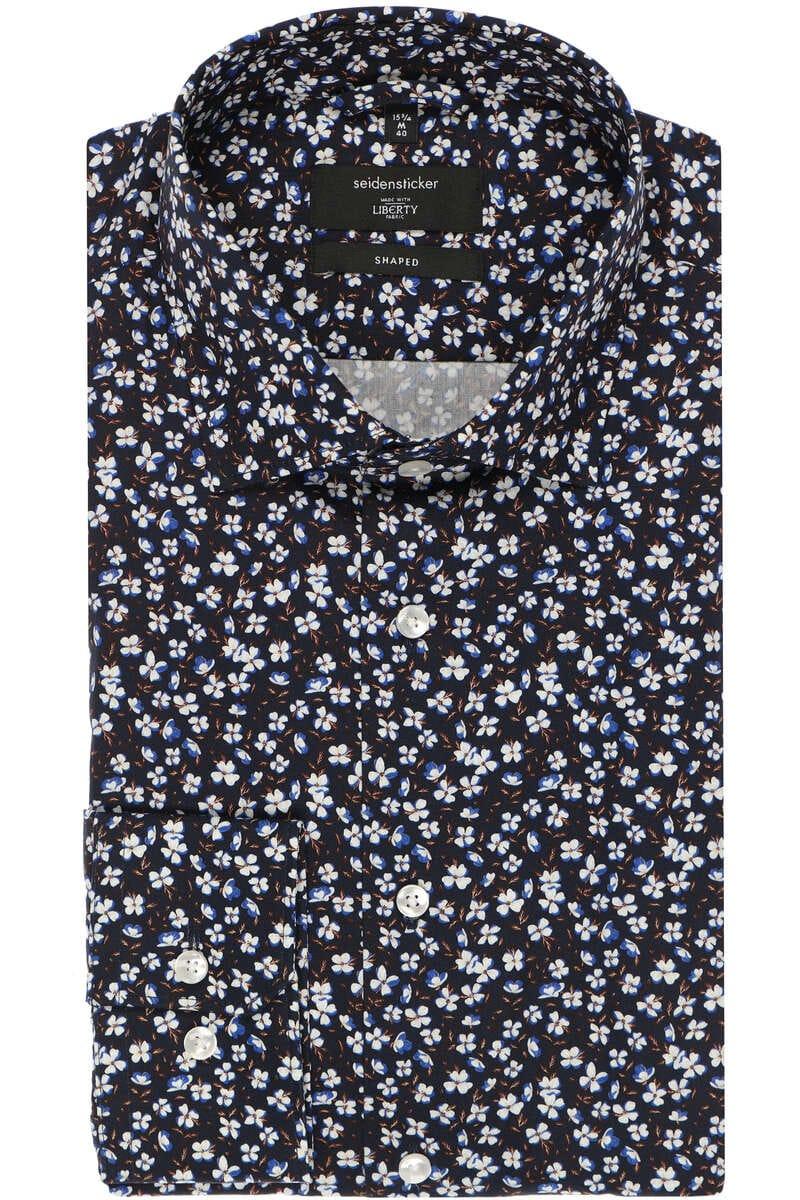 Seidensticker Shaped Hemd nachtblau, Gemustert 40 - M