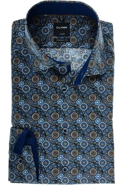 Olymp Luxor Modern Fit Hemd braun/blau, Paisley