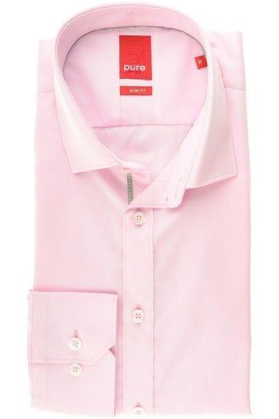 Pure Hemd - Slim Fit - rosa, Einfarbig