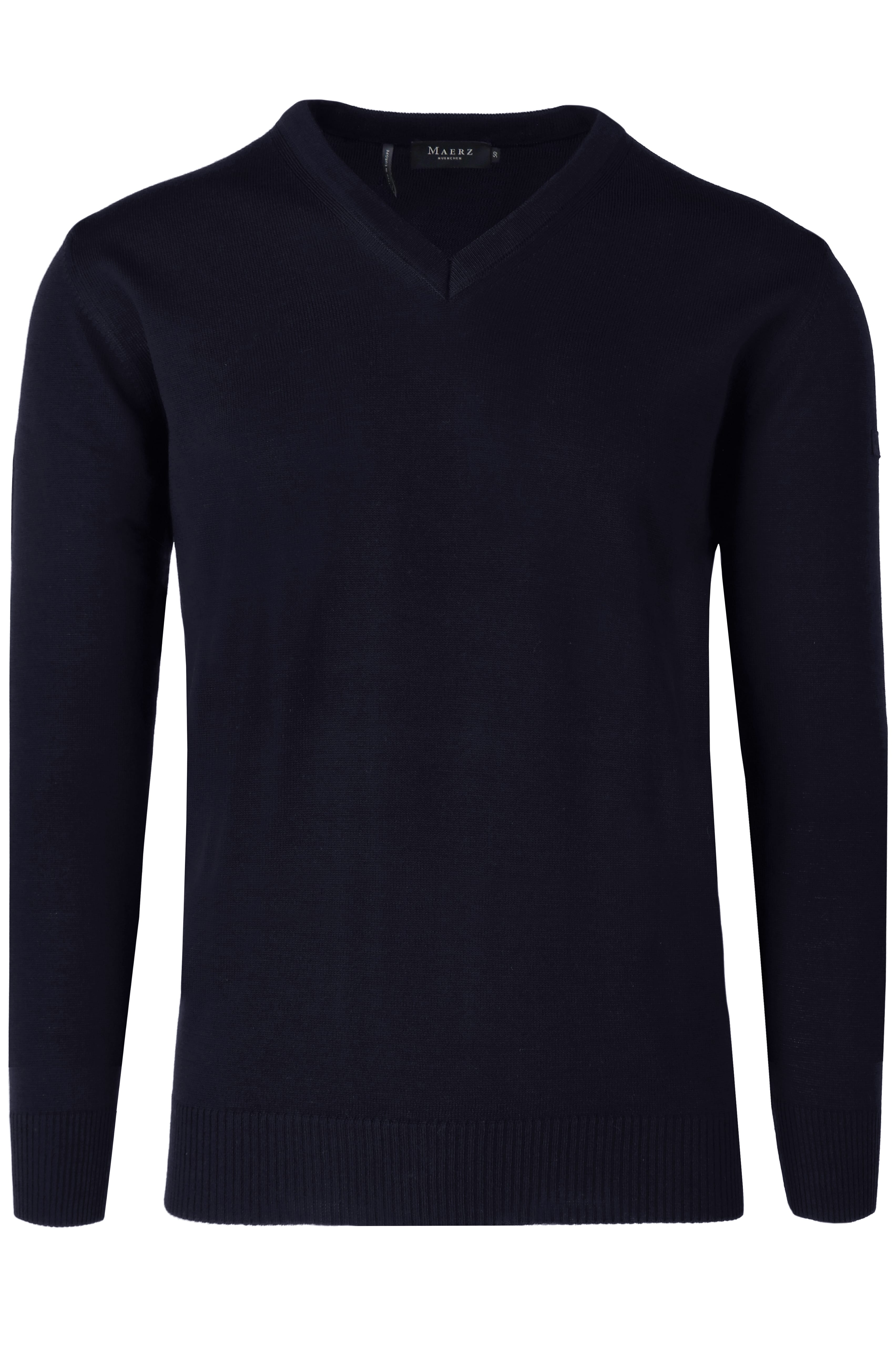 MAERZ Classic Fit Pullover V-Ausschnitt navy, einfarbig 56