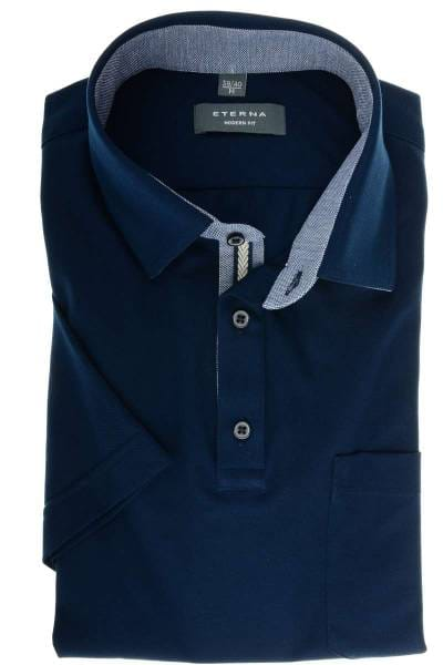 ETERNA Modern Fit Hemd marine, Einfarbig