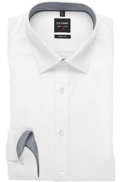 OLYMP Level Five Body Fit Hemd weiss, Faux-uni