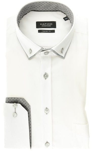 Hatico Hemd - Regular Fit - weiss, Einfarbig