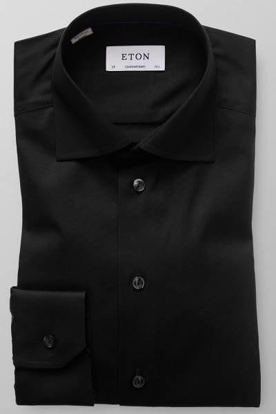 Eton Hemd - Contemporary Fit - schwarz, Einfarbig