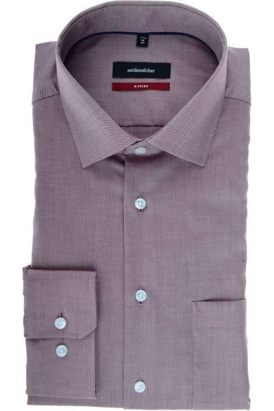 Seidensticker Modern Fit Hemd bordeaux/weiss, Strukturiert