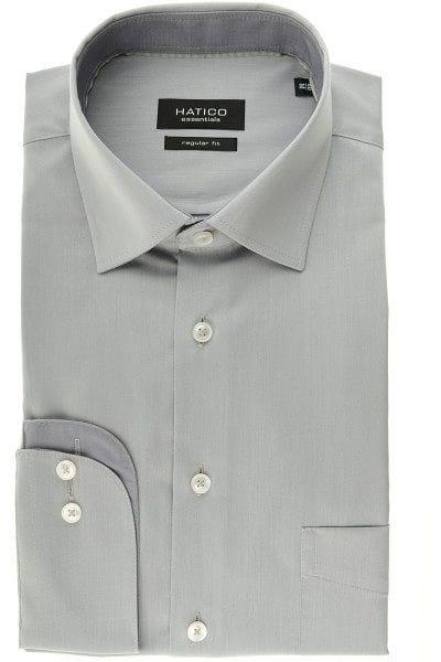 Hatico Hemd - Regular Fit - silber, Einfarbig