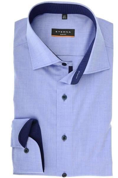 Eterna Slim Fit Hemd blau, Einfarbig