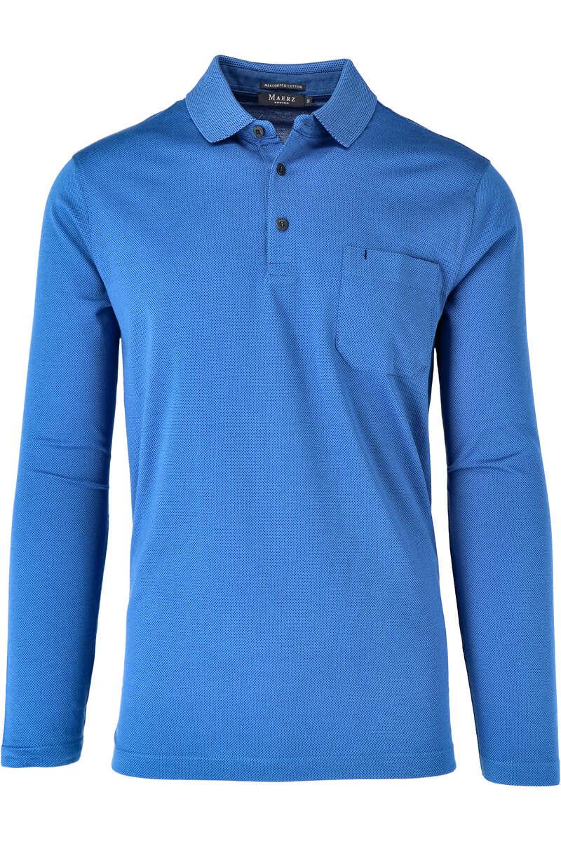 Maerz Modern Fit Sweatshirt Polokragen dunkelblau/blau, gemustert 50
