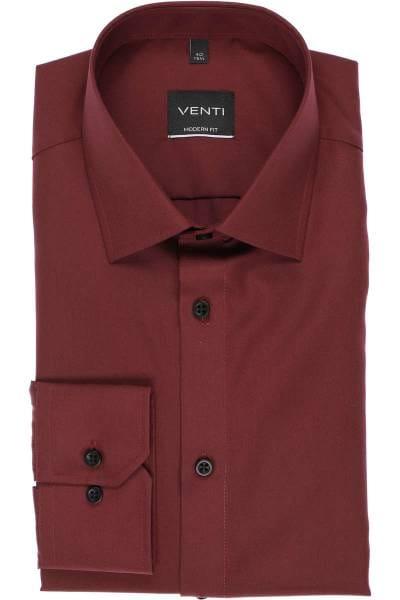 Venti Modern Fit Hemd weinrot, Einfarbig