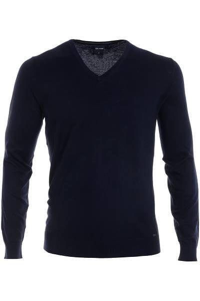 Olymp Strickpullover V-Ausschnitt Pullover - marine