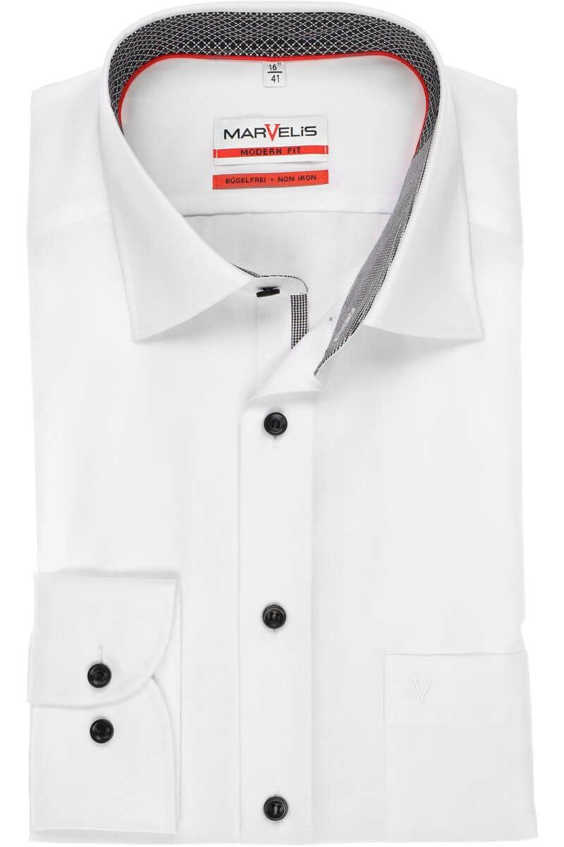 Marvelis Modern Fit Hemd weiss, Einfarbig 47 - 3XL