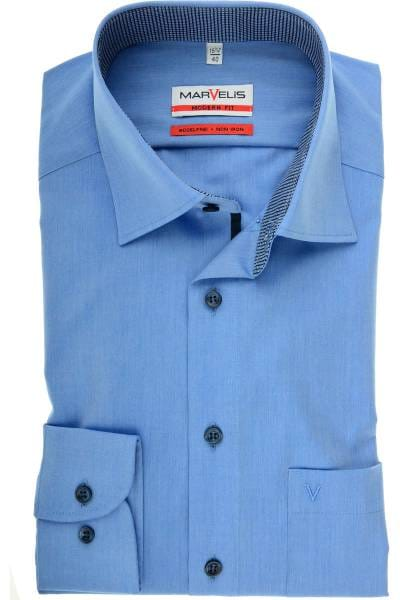 Marvelis Modern Fit Hemd rauchblau, Einfarbig
