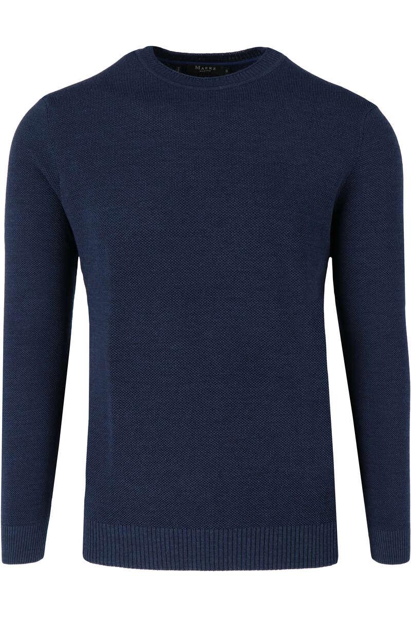 Maerz Regular Fit Pullover Rundhals dunkelblau, einfarbig 50