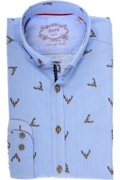 Hochwertiges Pure Slim Fit Trachtenhemd in der Farbe blau weiss ... a1ffb0081b