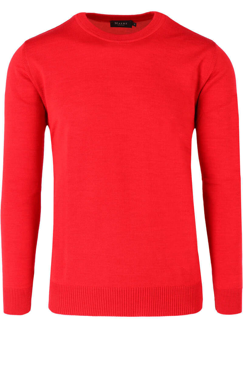 MAERZ Classic Fit Pullover Rundhals rot, einfarbig 50