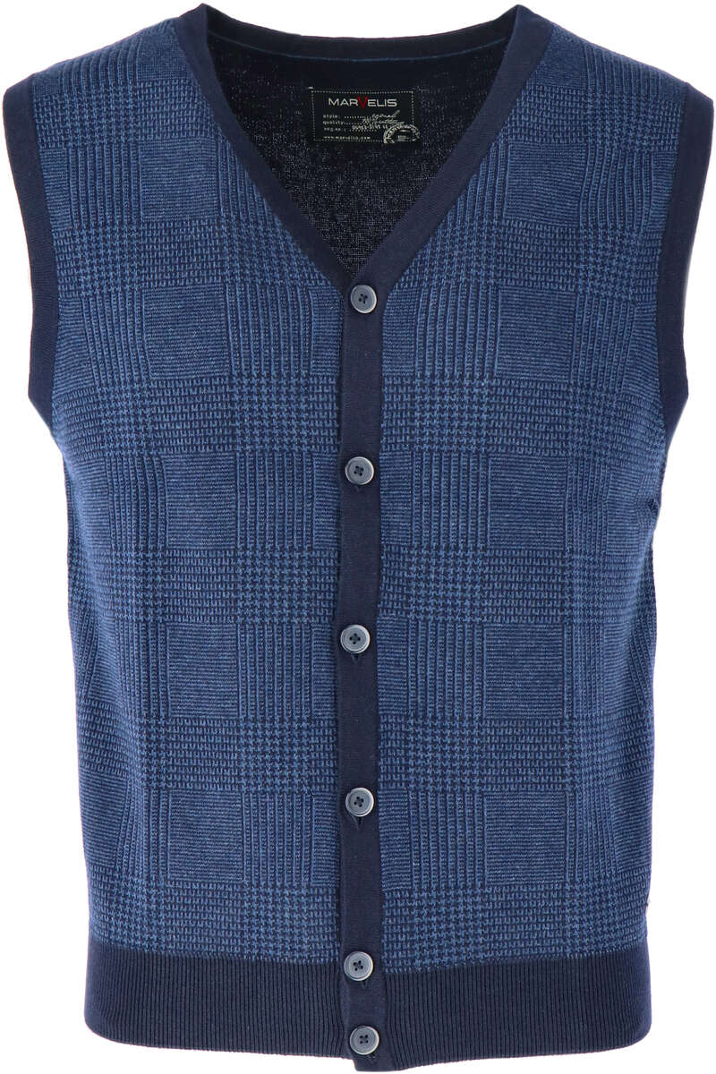 Marvelis Casual Modern Fit Weste V-Ausschnitt blau, gemustert L