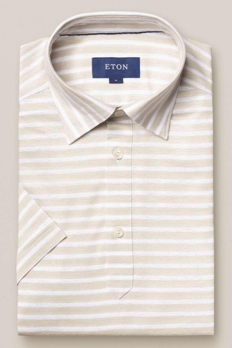 ETON Contemporary Fit Poloshirt beige/weiss, Gestreift M