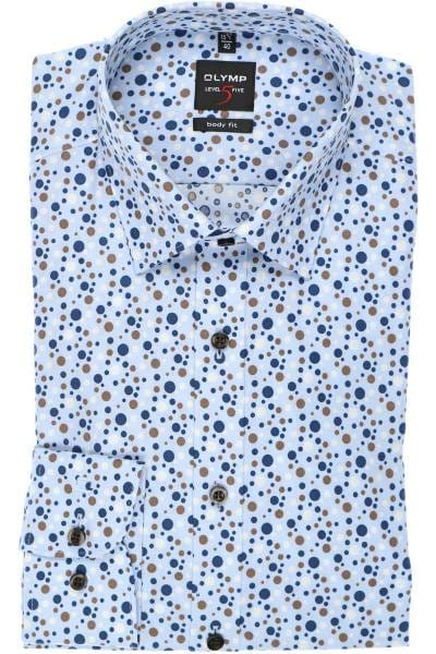 OLYMP Level Five Body Fit Hemd blau/braun, Gepunktet