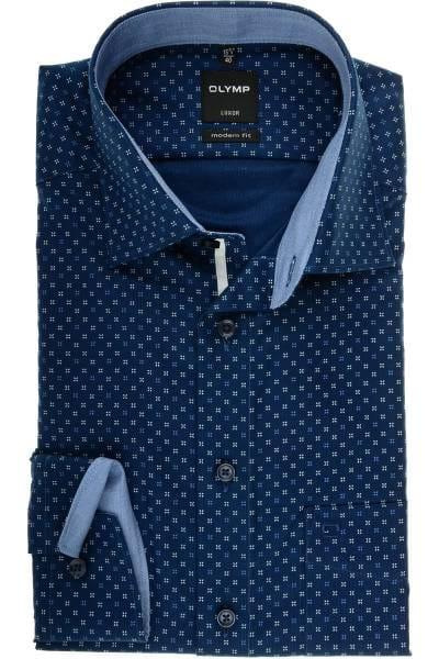 OLYMP Luxor Modern Fit Hemd marine/blau/weiss, Gemustert